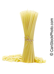 pasta spagetti tied up with a rope on white background