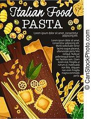 Pasta, spaghetti, penne and macaroni vector - Pasta making...