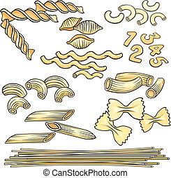 pasta, spaghetti, set, vermicelli, icone