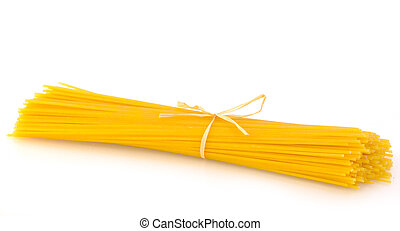 Pasta (spaghetti) whole grain on white background with copy space