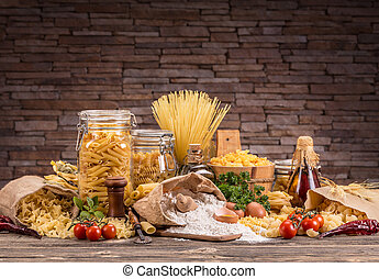 Pasta - Still life with various traditional italian pasta ...