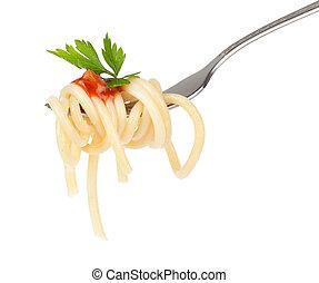 pasta, su, forchetta, isolato, bianco