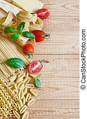 Pasta, tomato and basil bacground