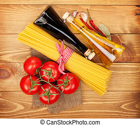 Pasta, tomatoes, condiments and spices