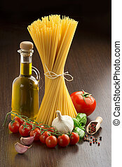 pasta, tomatoes, olive oil, garlic, basil and spices