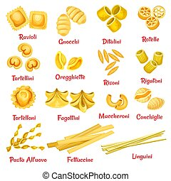 Pasta type with name poster of Italian macaroni - Pasta type...
