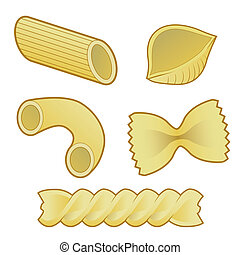 Stylized vector illustration of various pasta types used in italian cuisine, including macaroni, rigatoni, penne, shells, rotini, and farfalle (bowtie).