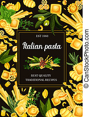 Pasta types menu, Italian food and seasonings - ?????, ????...