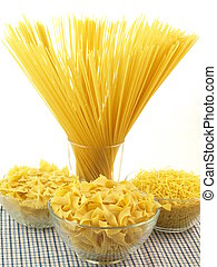 Pasta types - Types of pasta on isolated white background