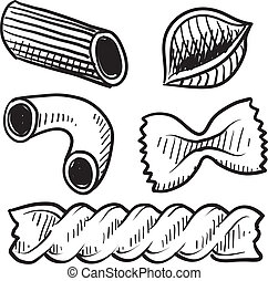 Doodle style vector illustration of various pasta types used in italian cuisine, including macaroni, rigatoni, penne, shells, rotini, and farfalle (bowtie).