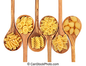 Pasta selection of macaroni, messicani, fusilli, farfalline, farfalle and conchiglie on olive wood spoons over white background.
