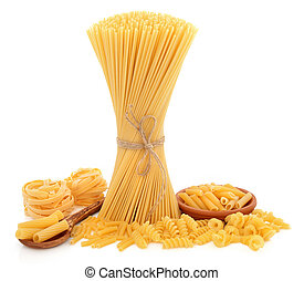 Pasta Varieties - Pasta varieties of spaghetti tied in a ...