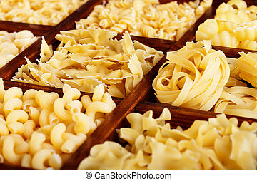 Pasta variety - Golden pasta variety in perspective angle - ...