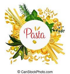 Pasta vector Italian macaroni poster - Pasta poster for...