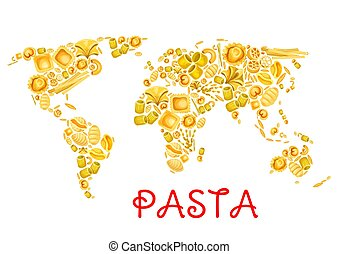 Pasta vector Italian macaroni world poster - Pasta in world...
