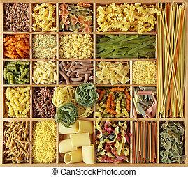 pasta, verzameling, italiaanse