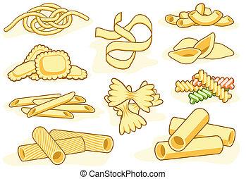 pasta, vorm, iconen