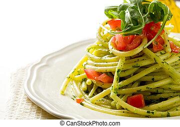 Pasta with arugula pesto and cherry tomatoes - photo of...