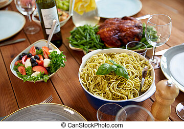 pasta with basil in bowl and other food on table