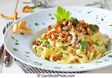 Pasta with chanterelles - Italian tagliatelle with fried ...