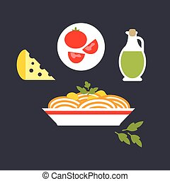 Pasta with cheese, tomato, olive oil, parsley
