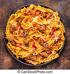 Pasta with chicken liver sauce, top view.