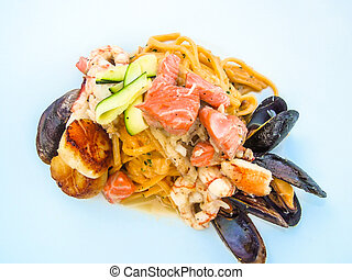 Pasta with fresh seafood