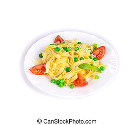 Pasta with green peas on plate.