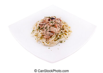 pasta with meat on a white plate