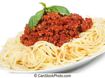 pasta with meat sauce on white background