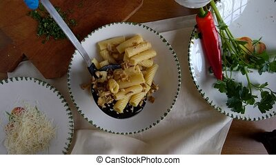 Pasta With Mushrooms - Pasta prepared with golden oyster...