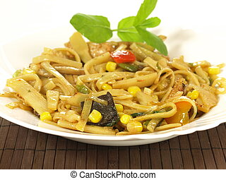 Pasta with mushrooms - Tagliatelle and penne with vegetables...
