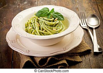 Pasta with pesto - Delicious italian pasta with ligurian...