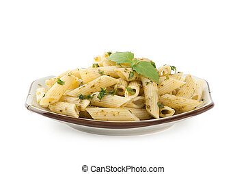 Pasta with pesto sauce on a plate