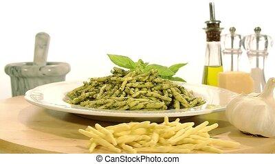 pasta with pesto - italian food, pasta and pesto