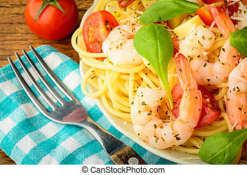 pasta with prawns - closeup detail of traditional spaghetti ...