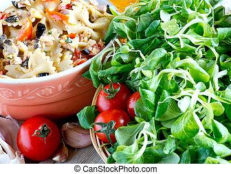 pasta with salad