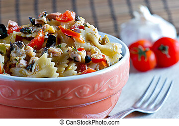 pasta with salad