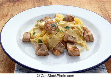 Pasta with sauce and meat on a white plate