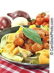 Pasta with sausage stew