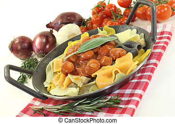 Pasta with sausage stew