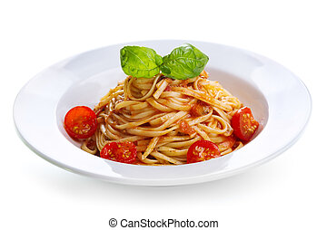 pasta with tomato sauce and green basil on white background