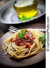 Pasta with tomato sauce - Italian food. Pasta spaghtti with...