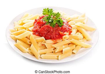 Pasta with tomato sauce on white background
