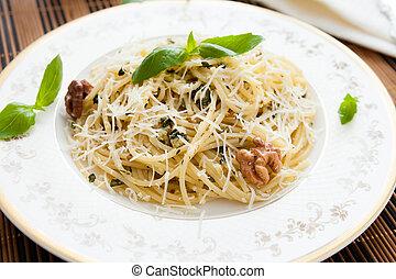 pasta with walnut pesto and parmesan