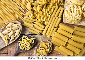 Pasta with wood background