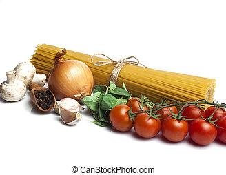 pasta, witte achtergrond, ingredienten
