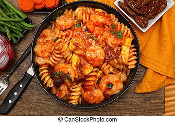 pastas, camarón, veggies, fusilli