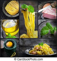 pastas, carbonara, collage