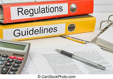 pastas, com, a, etiqueta, regulamentos, e, diretrizes